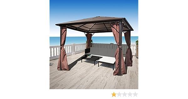 Anself - Cenador con cortinas marrones, resistente a la intemperie, 300 x 300 cm: Amazon.es: Hogar
