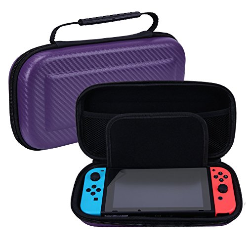 Hde Travel Case For Nintendo Switch With Included Console Screen Protector Premium Portable Hard Shell Carry Pouch With 10 Game Storage  Purple