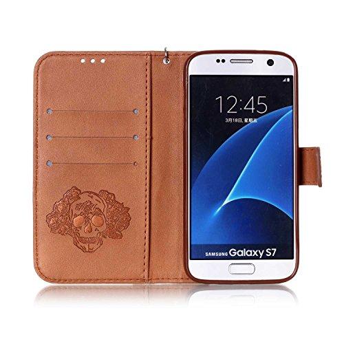 Custodia Galaxy S7 ISAKEN Cover Samsung Galaxy S7 con Strap, Elegante borsa Dente di leone Design in Pelle Sintetica Ecopelle PU Case Cover Protettiva Flip Portafoglio Case Cover Protezione Caso con S cranio:marrone