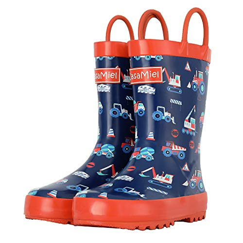 CasaMiel Kid&Toddler Boys Rain Boots for Children, Handcrafted Rubber Boots for Girls, Graphic Pattern