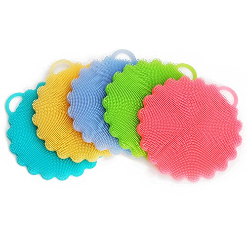INNERNEED Food-Grade Silicone Non Stick Dishwashing Brush Kitchen Dish Cleaning (5 mix color)