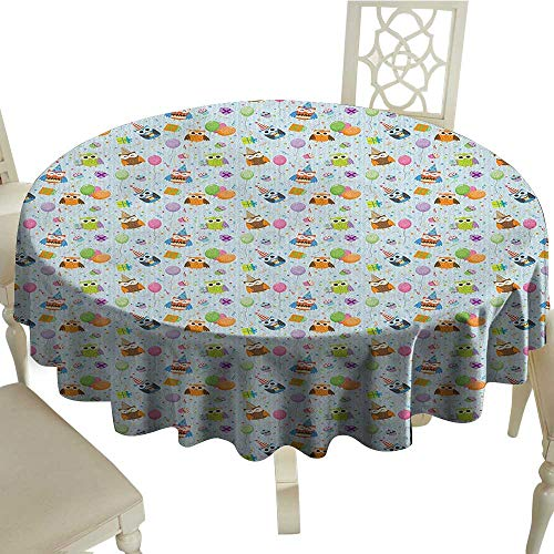 longbuyer Birthday Patterned Tablecloth Cheery Celebration Owls in Party Hats with Presents Confetti Balloons Tasty Cakes Diameter 54