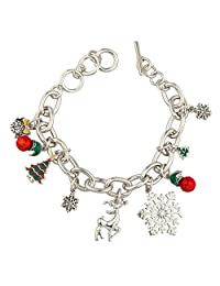 Lux Accessories Reindeer Christmas Snowflake Jingle Bells Tree Gift Toggle Xmas Bracelet.