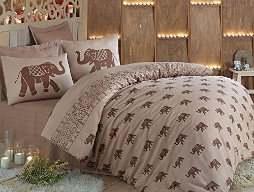 LaModaHome 3 Pcs Luxury Soft Colored Bedroom 65% Cotton 35% Polyester Quilt Duvet Cover Set Brown Background Elephant Animal Wild Safari Africa Super Bed