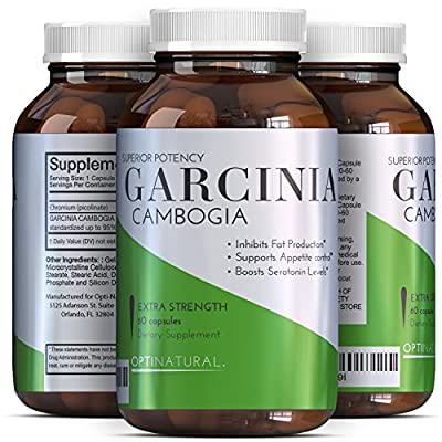 Garcinia Cambogia Pure Extract To Burn Belly Fat In Men And Women - Weight Loss Pills With Natural Ingredients - Appetite Suppressant + Boost Energy - Garcinia 95 HCA Supplement By OptiNaturals