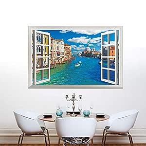 Fake Window City River Bedroom Living Room Study Room Wall Sticker