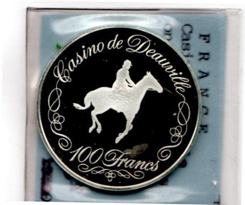 Casino Deauville 100 Francs Silver Gaming Token from France