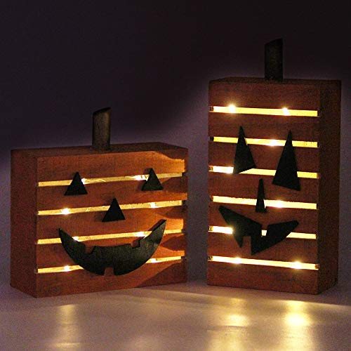 Wooden Halloween Decorations (MorTime 2 Pack Pumpkin Wooden Light Halloween Decorations, Harvest Fall Thanksgiving Party Decoration with LED)