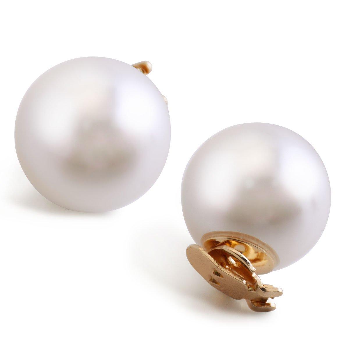 ElegantPark CH 2 Pcs Shoe Clips Round Pearl Ball Wedding Party Decoration Ivory