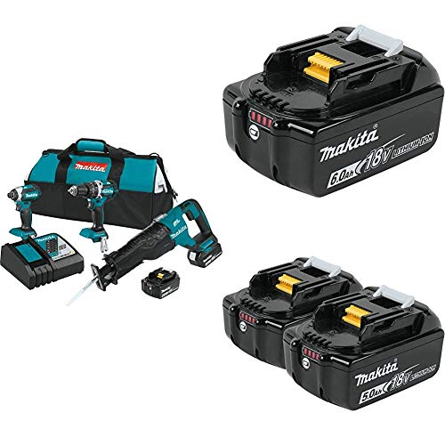 Makita XT328M 4.0 Ah 18V LXT Lithium-Ion Brushless Cordless Combo Kit, 3 Piece w/ Makita BL1860B 18V 6.0 Ah Battery & Makita BL1850B-2 18V LXT Lithium-Ion 5.0Ah Battery Twin Pack