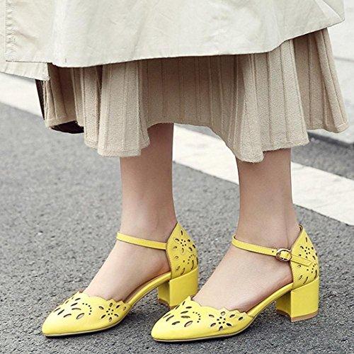 Mujer De Tobillo Correa Sandalias Yellow Coolcept BnWY7Y