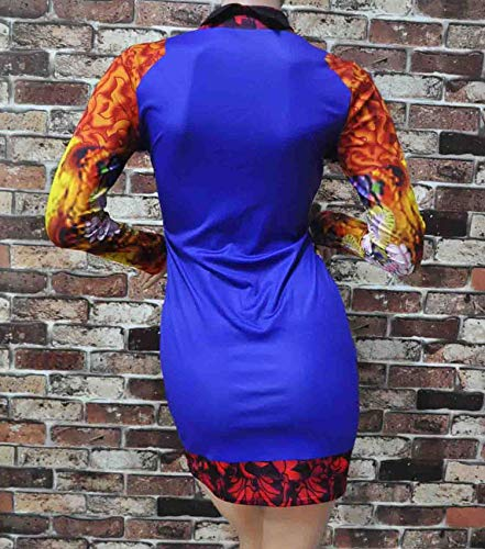 州宇宙の叫ぶCcocoファッションエレガントなヴィンテージ女性のスタンドカラーロングスリーブ花柄チョンサムオリエンタルBodyconフィットミニドレス - 絵の色 - M