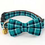 ADPET Bell Cat and Dog Collar with Bowtie - Cute Plaid Bowtie,Soft and Comfortable,Adjustable Bowtie Collar for Small/Medium / Large Dogs