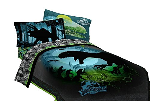 Universal Boys Jurassic World Twin Bedding Collection with Reversible Comforter + Bonus Sham, Twin 3-Pc Sheet Set, Plush Throw, Window Panels by Universal