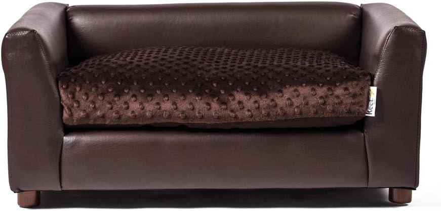 Keet Fluffly Deluxe Pet Bed Sofa Chocolate Medium : Pet Supplies