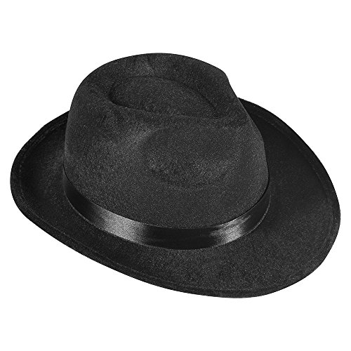 [Black Fedora Gangster Hat Costume Accessory] (Fedora Gangster Hat)