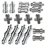 LS Photography [16-Piece] 1/4 Inch and 3/8 Inch Male and Female Converter Variety Set with Threaded Screw and Spigot Adapters for Photo Studio Tripod, Monopod, Camera, Ball Head, Light Stand, LGG723