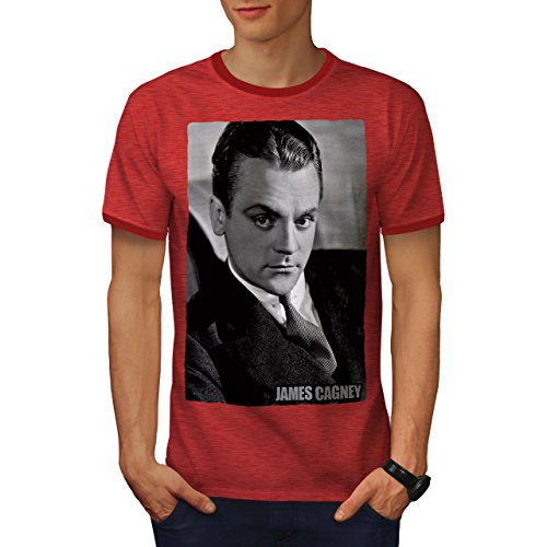 wellcoda Star James Cagney Mens Ringer T-Shirt, Famous Graphic Print Tee Heather Red/Red XL