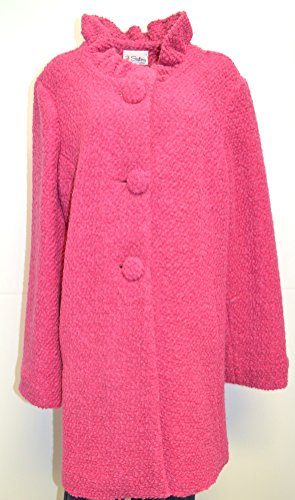 3 Sisters Jacket Peacoat Tunic w/Ruffled Collar Made in USA (X-Large, Pink Boucle) -