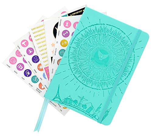Law of Attraction Daily Planner - Deluxe Daily Calendar and Gratitude Journal to Increase Productivity, Happiness & Time Management - Non Dated, A5 Soft Turquoise Hardcover + Bonus Stickers