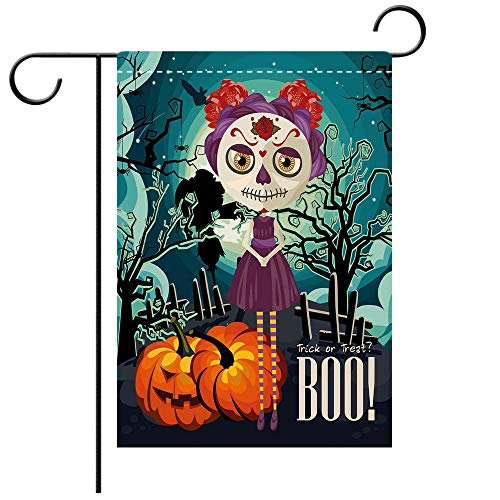 Garden Flag Double Sided Decorative Flags Halloween Cartoon Girl with Sugar Skull Makeup Retro Seasonal Artwork Swirled Trees Boo Decorative Multicolor Best for Party Yard and Home Outdoor Decor ()