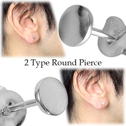 ラウンド シルバー 925 スタッドピアス タイプ1 (1P 片耳用) メンズ シンプル 丸 円形 スタイリッシュ 男性