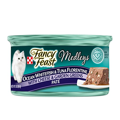Purina Fancy Feast Medleys Pate Collection Gourmet Wet Cat Food, (24) 3 oz. Cans, Ocean Whitefish & Tuna Florentine with Cheese & Garden Greens