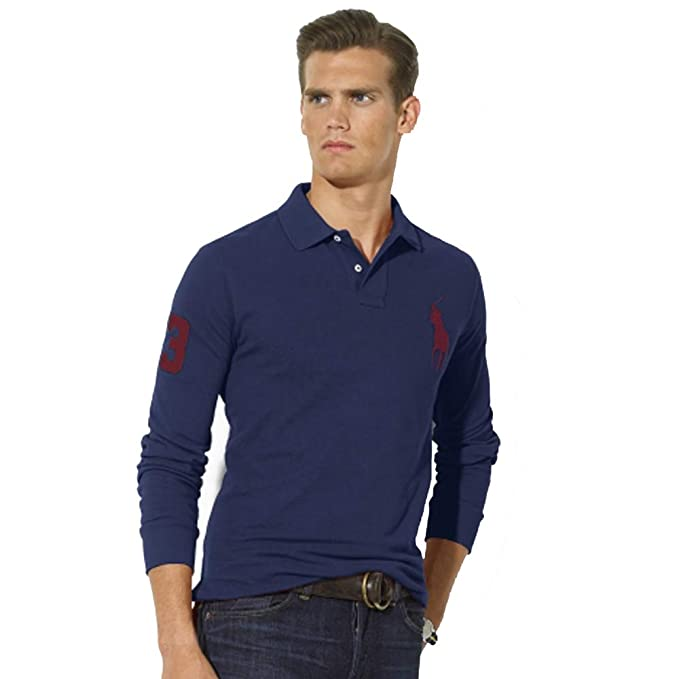 Ralph Lauren Polo de Manga Larga Big Pony Custom Fit (XXL, Azul ...