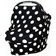 Lovesick Monkey - Baby Car Seat Canopy | Nursing Cover | High Chair Cover | Shopping Cart Cover | Bonus Matching Pouch | Multi-Use 360° Coverage | Breathable Stretchy | B&W CLASSIC POLKADOTS …