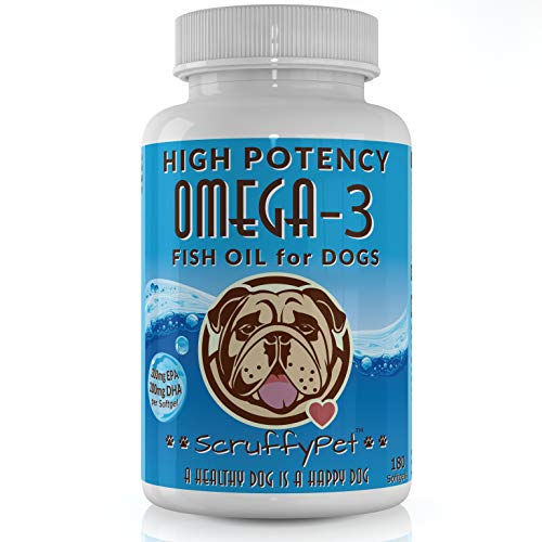 ScruffyPet Pure Omega 3 Wild Fish Oil for Dogs with Vitamin E – Highest EPA & DHA Softgels Available (1000mg) 180ct