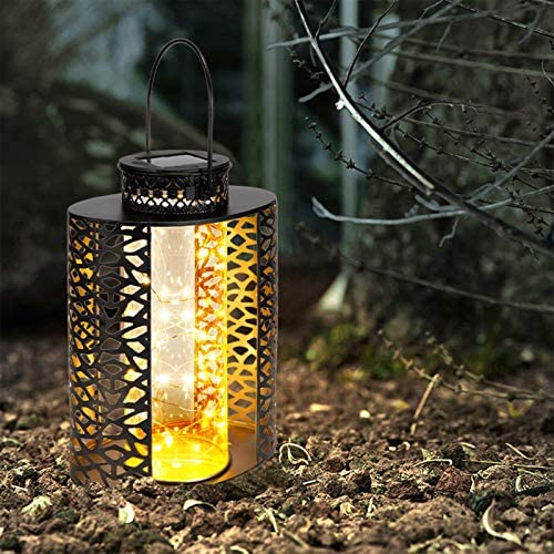 Solar Metal Lanterns Outdoor Hanging Garden Table Lamps Waterproof Copper Wire LED Solar Tabletop Lights Decorative for Patio, Yard, Pathway, Party