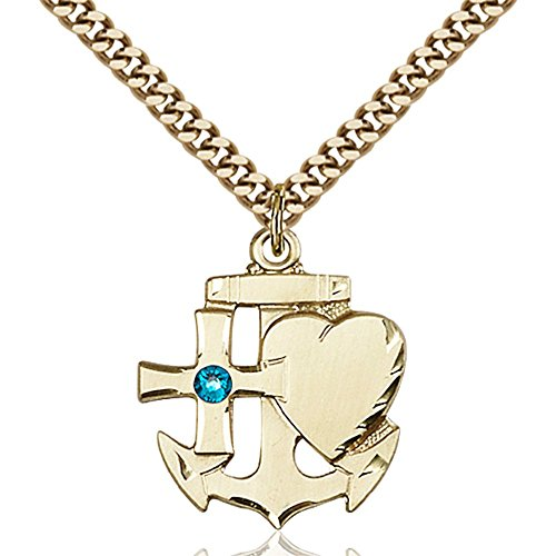 Gold Filled Faith Hope & Charity Pendant with 3mm December Blue Swarovski Crystal 7/8 x 3/4 inches with Heavy Curb Chain by Bonyak Jewelry Saint Medal Collection