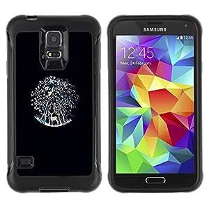 "Pulsar iFace Series Tpu silicona Carcasa Funda Case para Samsung Galaxy S5 V , Ciervos del trullo Bosque Negro"""