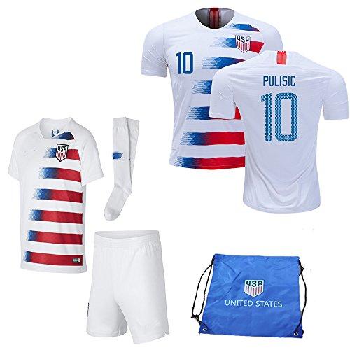 USA Soccer Team Christian Pulisic Carli Lloyd Alex Morgan Replica Kid Jersey Kit : Shirt, Short, Socks, Soccer Bag (C. Pulisic White Blue, Size 20 (3-4 Yrs Old ()