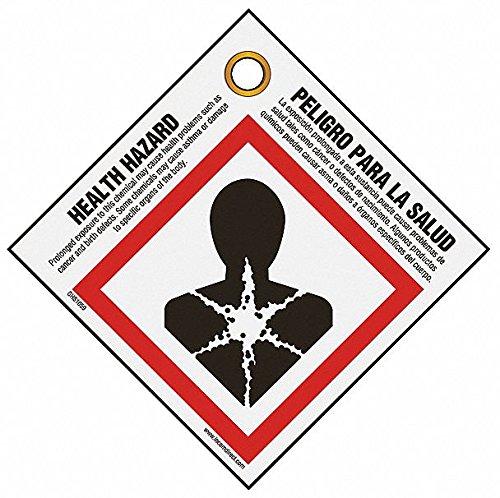 Health Hazard Safety Tags, Plastic, 3-3/4''H x 3-3/4''