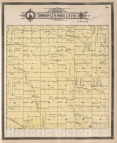 - Historic Map | Dawson County Nebraska, County Atlas Map, Township 12 N. Range XXV W. 1904 | Vintage Wall Art | 44in x 54in