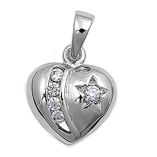 (Star Heart Pendant Clear Simulated CZ .925 Sterling Silver Charm - Silver Jewelry Accessories Key Chain Bracelet Necklace Pendants)