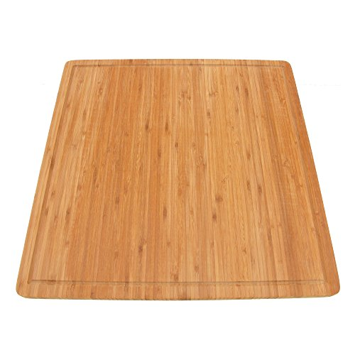 BambooMN Brand - Bamboo Burner Cover Cutting Board, New Vertical Cut, Large, Square (19.8