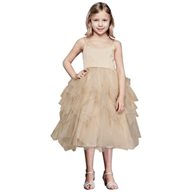 8c9bf36708a Amazon.com  Tiered Tea-Length Tulle Flower Girl Communion Dress Style  WG1253  Clothing