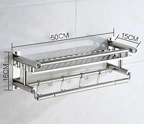 Amazon.com: Huihong Bathroom Shelf 304 Stainless Steel Bathroom Shower Rack Single Layer + Towel Bar +4 Hooks: Home & Kitchen