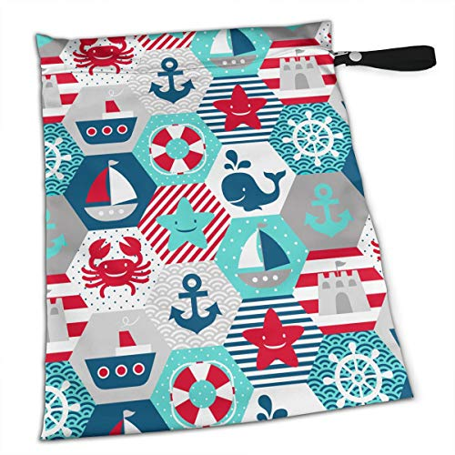 Nautical Themed Pattern Waterproof Reusable Snack Bag Large Capacity -