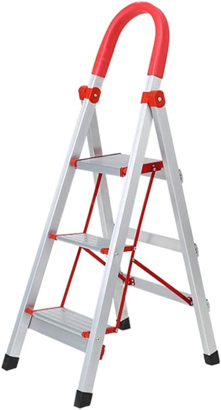MZ Escalera de Taburete de 3 Pasos para Adultos: Antideslizante Plegable portátil con Mango de Goma Aleación de Aluminio para Trabajo Pesado Taburete de Plata -: Amazon.es: Hogar