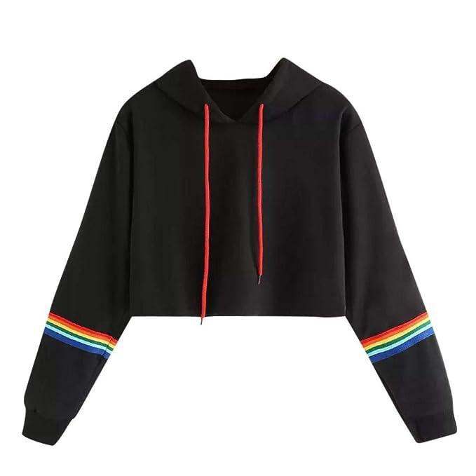 Mujer Sudaderas Cortas, STRIR 2018 Otoño Nuevo Sudaderas para Mujer Hoodie Blusa Camiseta de Manga Larga Tops de Deportivo Moda Basico Sencillo Primavera ...