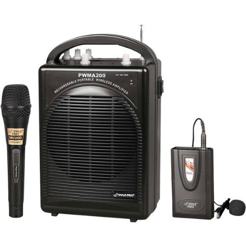 - PylePro Rechargeable Portable PA System with Wireless Lavalier/Headset MIC and 1 Wired Mic - 80 W Amplifier - Black - PWMA200