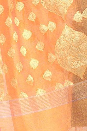 Chandrakala Women's Handwoven Zari Work Banarasi Dupatta Stole Scarf (Orange) by Chandrakala (Image #4)