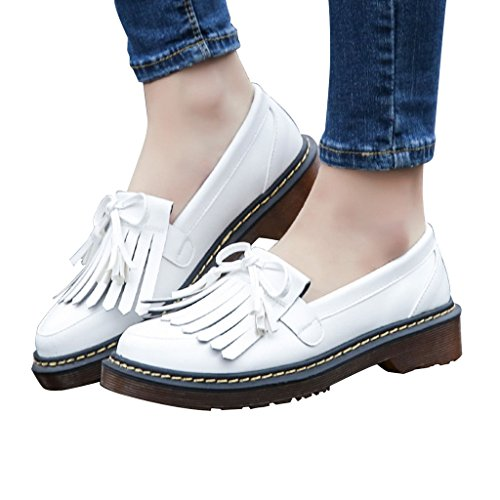Estimadas Mujeres Time Bowknot Tassels Slip Onloafers Zapatos Blanco
