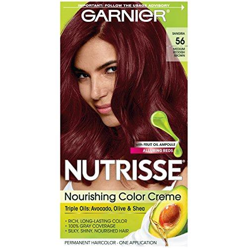 Garnier Nutrisse Nourishing Hair Color Creme, 56 Medium Reddish Brown (Sangria)  (Packaging May - Grape / Sangria