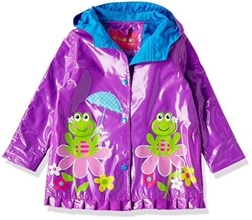 (Wippette Toddler Girls' Printed Raincoats, Purple Flower - Shiny, 3T)
