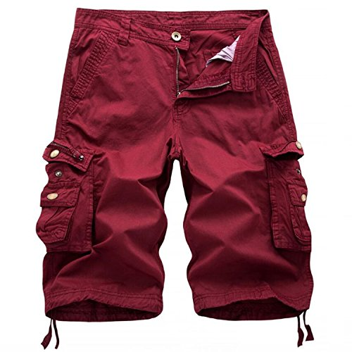 Men's Twill Cargo Shorts-Wine red-38