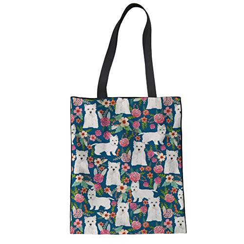 Upetstory Cotton Canvas Tote Bag Cute Dog Floral Shoulder Bag For Shopping Travel and School Work Eco-Friendly